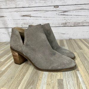 Lucky Brand Pickla Gray Suede Ankle Booties Size 8
